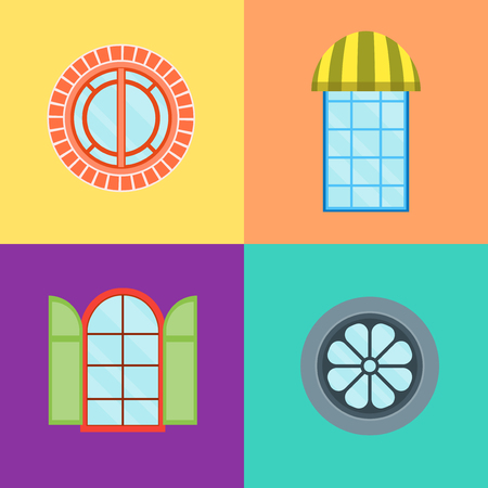 Cartoon Windows Set on a Color Background. Vector