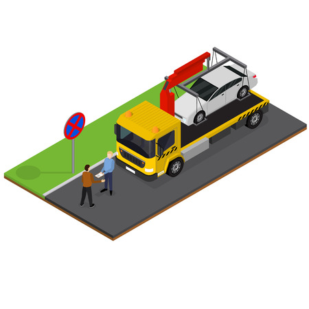 Tow Truck Isometric View. Vector