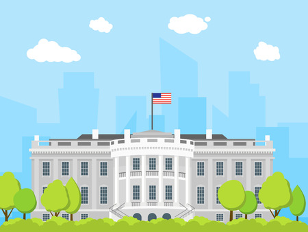 Cartoon White House Building. Vector