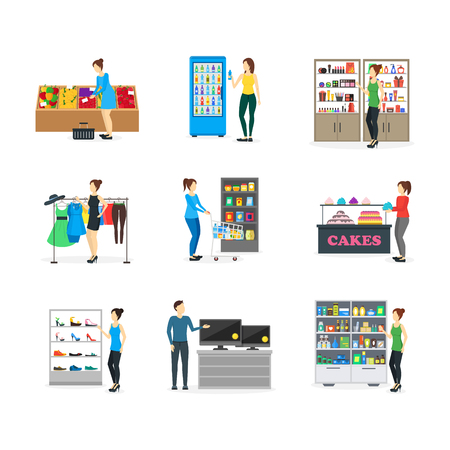 mujer en el supermercado: Cartoon Shopping Peoples on Store. Vector Vectores
