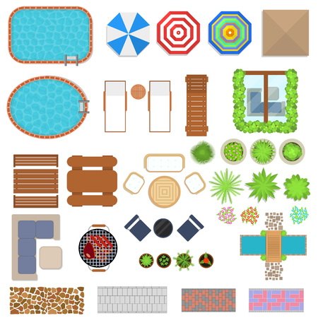 patio set: Cartoon Landscape Design Elements Set Top View. Vector Illustration