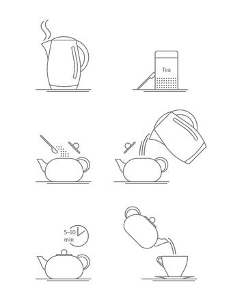 Tea Brewing Thin Line Set. Vector