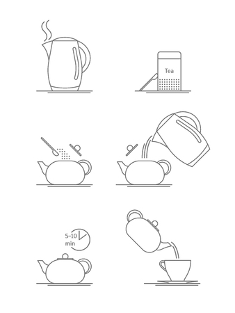 Tea Brewing Thin Line Set. Vector