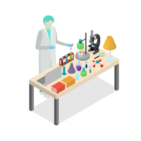 Scientist Person on Laboratory Concept Experiment Research Test. Vector
