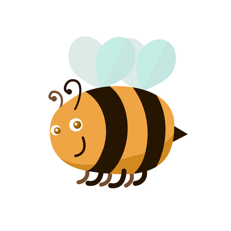 Cartoon Color Bee Cute and Funny Insect Symbol of Worker Mascot Flat Style Design. Vector illustration