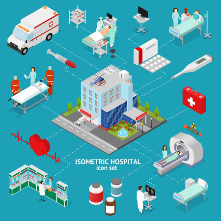 Medicine Hospital Concept Isometric View. Vector Illustration
