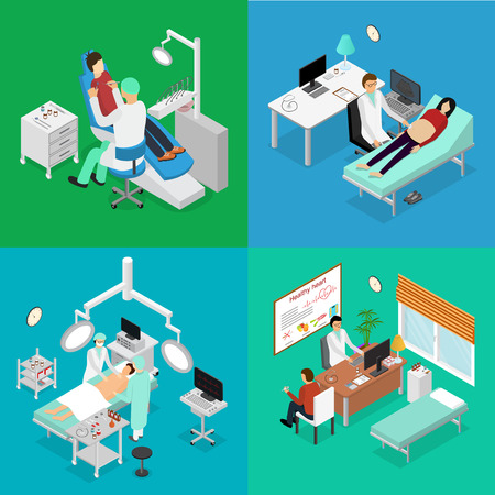appointments: Patient and Doctor Appointment Isometric View. Vector Illustration
