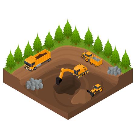 ショベル付け機器アイソメ ビューの採石場建設。ベクトル