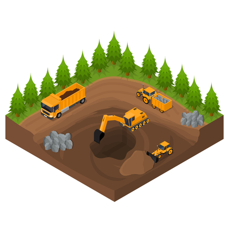 Construction Quarry with Excavators and Equipment Isometric View. Vector Vettoriali