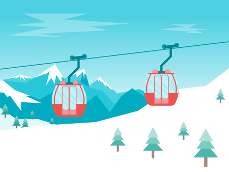 Cartoon Car Cabins Cableway in Mountains. Vector