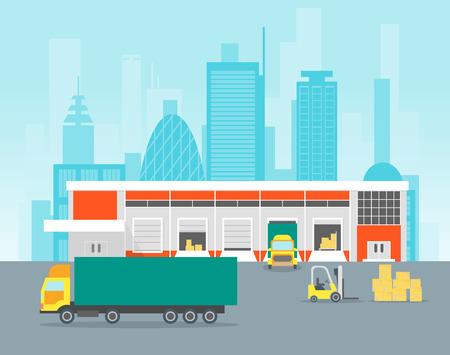 Cartoon Warehouse Distribution Logistics. Vector