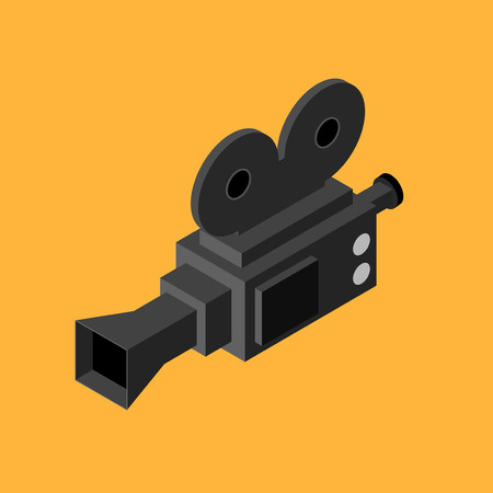 Cinema Video Camera Isometric View. Vector Illustration