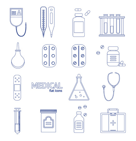 doctor tablet: Medical Healthcare Equipment Thin Line Icon Set on a Background Design Style. Vector illustration Stock Photo