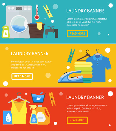 Cartoon Laundry Banner Horizontal Set. Washing and Ironing Housework Flat Design Style Vector illustration Imagens - 78847403