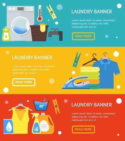Cartoon Laundry Banner Horizontal Set. Washing and Ironing Housework Flat Design Style Vector illustration Stock Photo