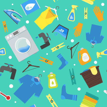 Cartoon Laundry Background Pattern. Vector