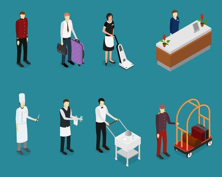 Hotel Service Mensen Personeel Stel Isometrische Uitzicht. Vector Vector Illustratie