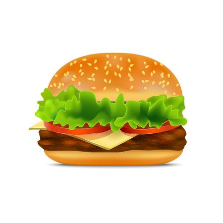 sesame: Realistic Detailed Fast Food Burger. Vector
