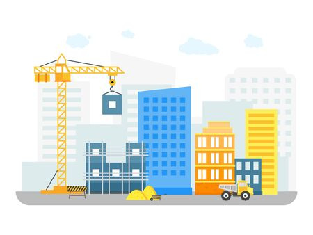 Cartoon Constructions Building on Background of City District. Vector Stock Photo