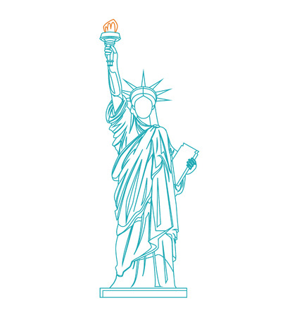 Statue of Liberty Thin Line. Vector Banque d'images