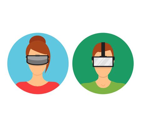 cyber woman: Cartoon Virtual Reality Glasses Avatars Set Man and Woman with Technology Equipment Flat Design Style. Vector illustration