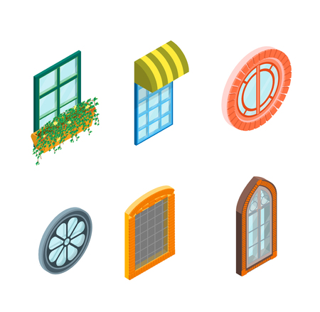 wood pillars: Glass Windows Set Isometric View Decoration Building Construction Element Urban Street Design Style. Vector illustration