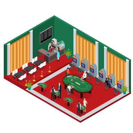 Interior Casino Isometric View with Furniture and Equipment Design Element. Vector illustration Illustration
