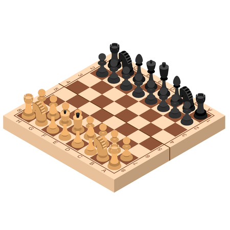 Chess Isometric View Figures on Wooden Chessboard Strategy Sport Game. Vector illustration