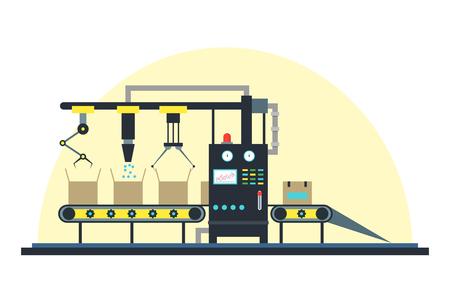 컨베이어 기계 완전 자동 생산 라인 공장을위한 평면 스타일 디자인 요소. 벡터 일러스트 레이 션