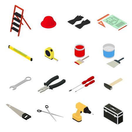renovate: Home Repair Icons Set Isometric View Tool and Equipment for Renovation House. Vector illustration