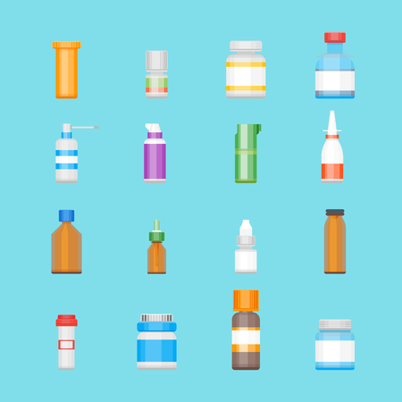 Cartoon Medicine Bottles for Drugs Color Icons Set Therapy and Treatment Flat Style Design. Vector illustration
