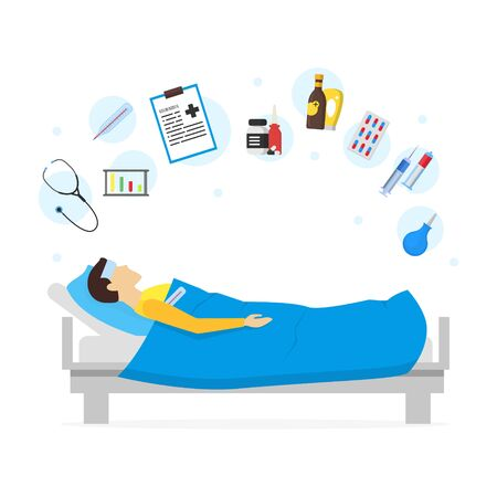 contagious: Cartoon Sick Man in Bed and Element Set Infection Illness and Fever. Vector illustration