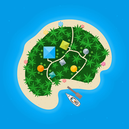 dinghy: Cartoon Color Tropical Island in Water. Vector