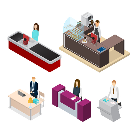 Receptionists Set Isometric View. Vector Illustration