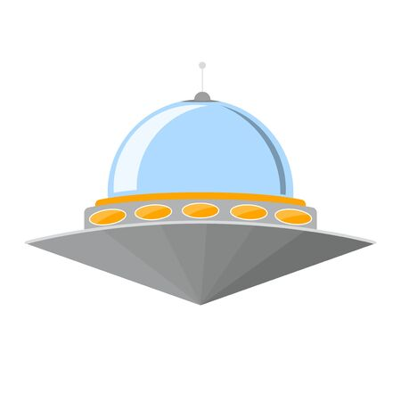 galactic: Cartoon Ufo Isolated on White Background. Vector