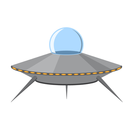 Cartoon Ufo Isolated on White Background. Vector