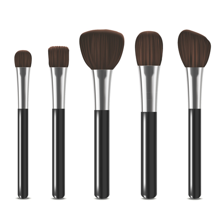 assortment: Realistic Detailed Cosmetic Brushes Set. Vector