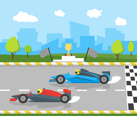 Cartoon Car Racing Sport Professional Competition. Vector