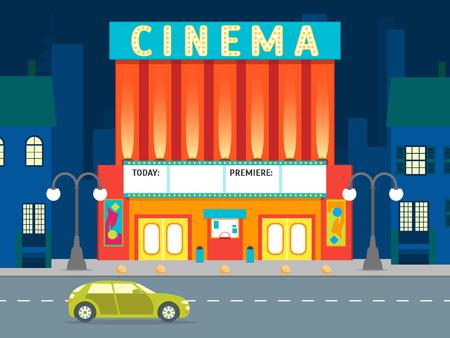 Cartoon Building Cinema on a City Landscape Background. Vector