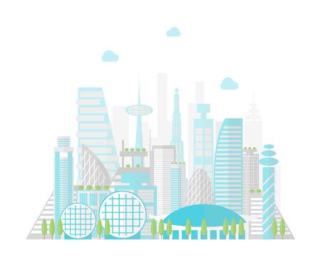 만화 미래 도시 풍경 배경입니다. 벡터 일러스트