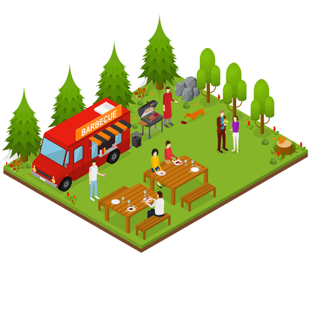Bbq on the go vehicle Isometric View. Vector illustration Ilustrace