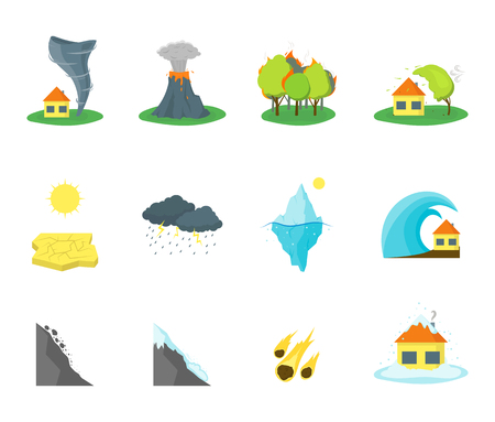 disaster: Cartoon Natural Disaster Color Icons Set. Vector