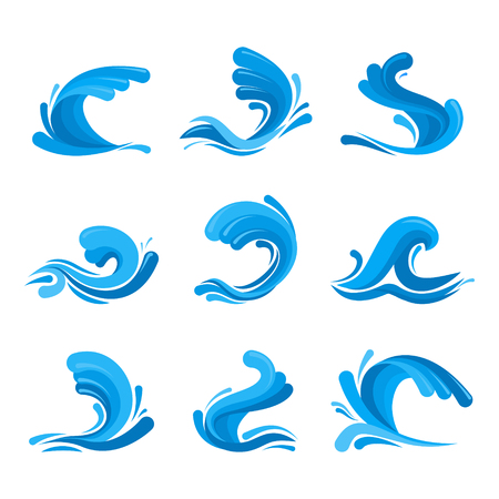 Cartoon Ocean or Sea Blue Waves Icons Set. Vector