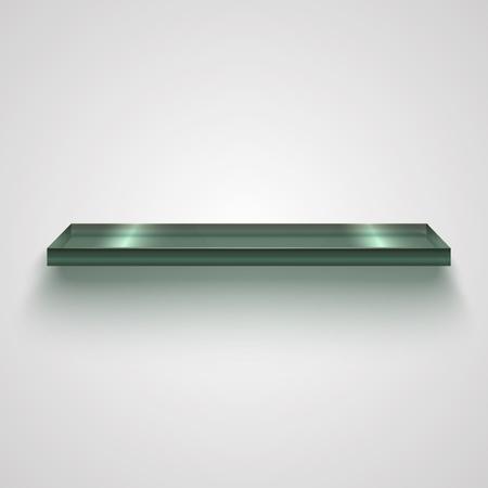 Realistic Glass Shiny Shelf. Vector