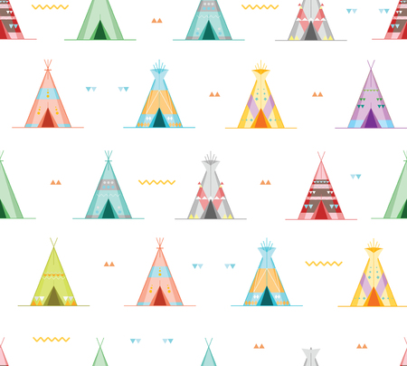 Cartoon Wigwams or Tepees Background Pattern. Vector
