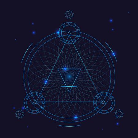 Alchemy Geometry Symbol Thin Line. Vector Illustration