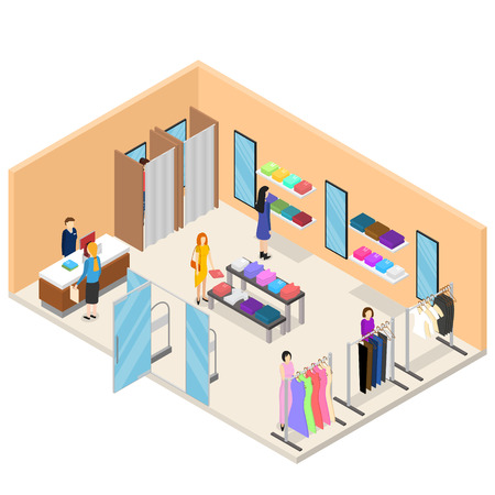 Interior Clothing Store Isometric View. Vector