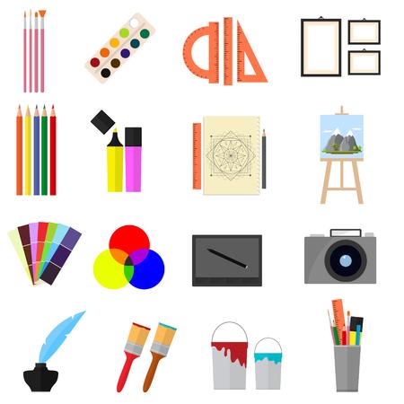 pen and marker: Cartoon Art Color Icons Set. Vector
