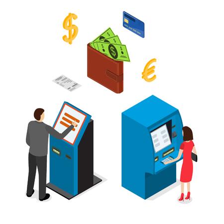 automatic transaction machine: Banking Terminal Service Set Isometric View. Vector Foto de archivo