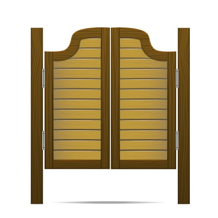 exterior architectural details: Wooden Brown Gate or Door in Salon, Bar or Pub. Vector
